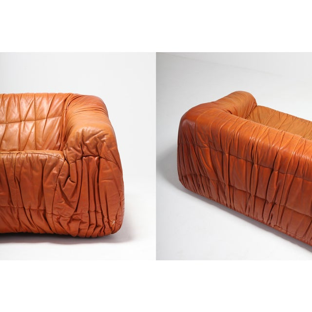 Postmodern Cognac Leather 'Piumino' Sofa by De Pas, D'urbino & Lomazzi For Sale - Image 6 of 8
