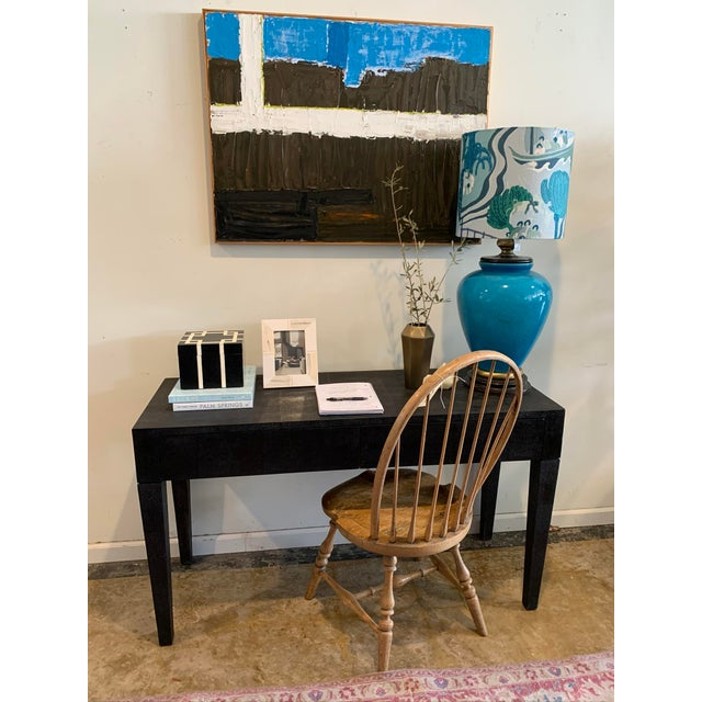 Made Goods Black Faux Shagreen Desk For Sale In Los Angeles - Image 6 of 9