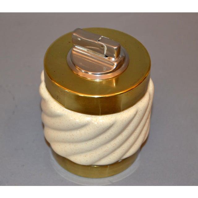 1960s Mid-Century Modern Tommaso Barbi Beige Ceramic & Brass Lighter Italy, Signed For Sale - Image 5 of 11
