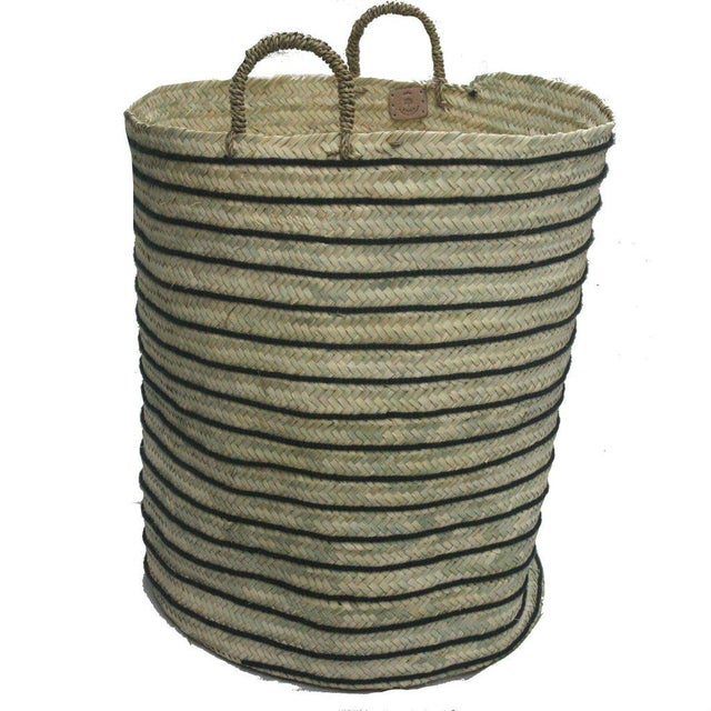 Islamic Moroccan Grey Straw Hamper For Sale - Image 3 of 3