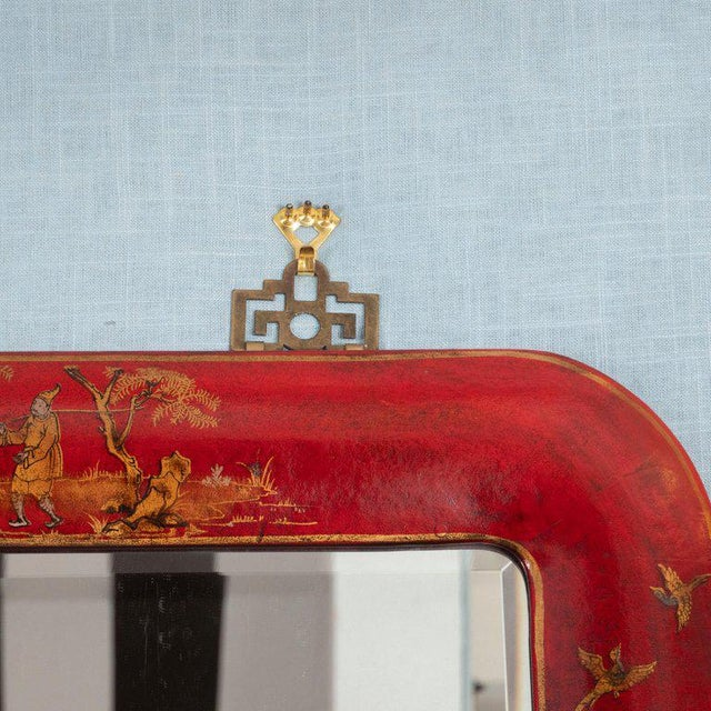 Asian Chinoiserie Red Lacquered Mirrors - a Pair For Sale - Image 3 of 11