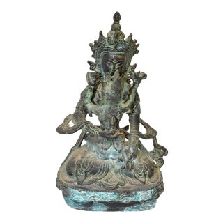 Early 19th Century Bronze Tibetan Couple Statue Vajrasattva Yab Yum For Sale