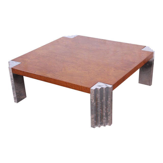 Milo Baughman Style Mid-Century Modern Burl Wood and Chrome Cocktail Table For Sale