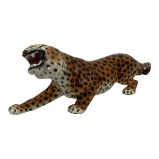 Mid-Century Ceramic Hand-Painted Tiger For Sale