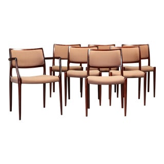 Mid-Century Modern Niels Otto Moller Dining Chairs in Mahogany Inc. Reupholstery - Set of 7 For Sale
