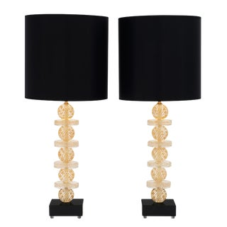 Murano Glass Gold and Black Lamps For Sale