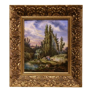 19th Century French Hand Painted Pastoral Porcelain Plaque For Sale