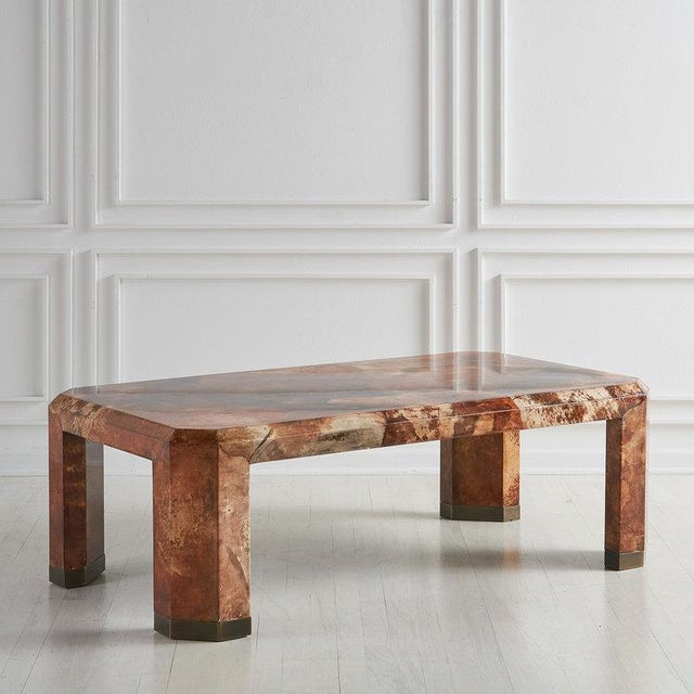 Gold Lacquered Goat Skin Coffee Table For Sale - Image 8 of 8