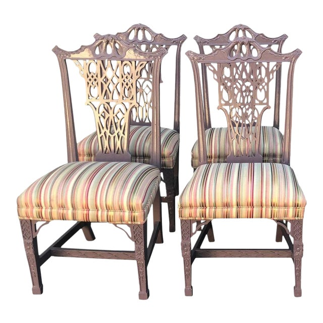 Hollywood Regency Chinese Chippendale Style Purple Pastel Dining Chairs - Set of 4 For Sale