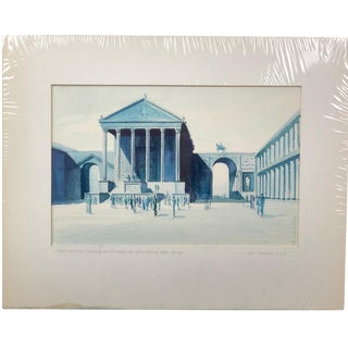 1960s Vintage Original Otto Claus Huckenbeck Mid-Century Modern Watercolor Painting For Sale