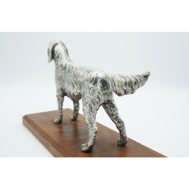 Vintage Silverplate Sporting Dog on Wooden Base For Sale - Image 6 of 11