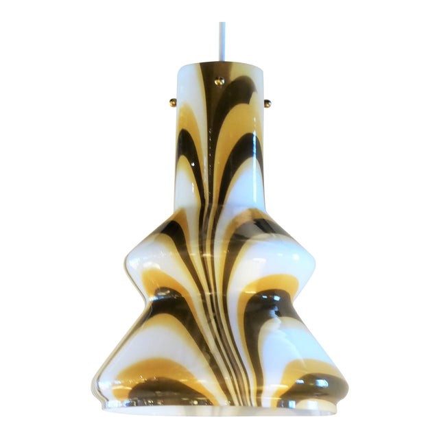 1960s Modern Swirl Blown Glass Pendant For Sale