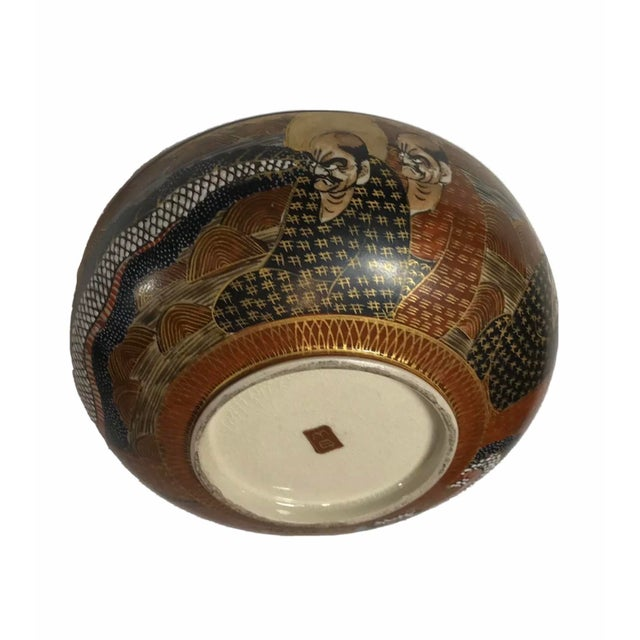Japanese 1940s Antique Japanese Satsuma Hand Painted 2 Sided Golden Porcelain Bowl For Sale - Image 3 of 13