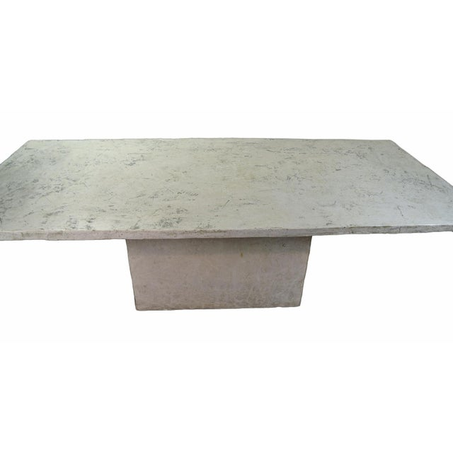 Modern Vintage Faux Raw Stone Dining Table / Conference Table For Sale - Image 3 of 12