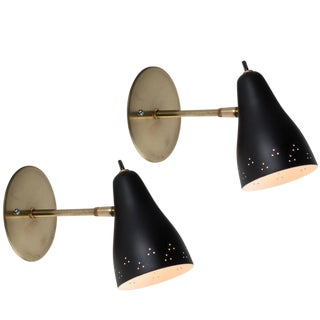 1950s Perforated Italian Sconces in the Manner of Giuseppe Ostuni For Sale
