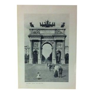 """Circa 1930 """"Arco Della Pace"""" Print of Milano Italy For Sale"""
