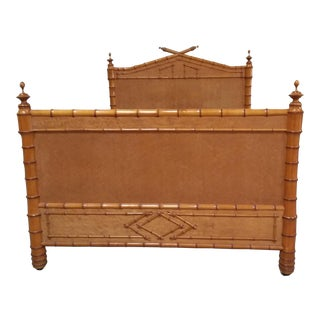 Antique American Birdseye Maple Faux Bamboo Full Size Bed