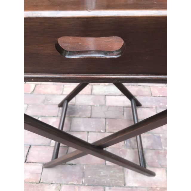 Campaign Style Mahogany Butlers Tray on Stand—Can Be Shipped in Box by Ups For Sale In New York - Image 6 of 12