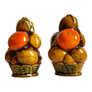 Vintage Inarco Ceramic Fruit Basket Salt & Pepper Shakers-A Set For Sale