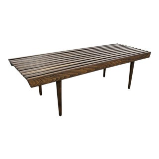 "Mid-Century Danish Modern Walnut Slat Bench Coffee Table 48"" For Sale"