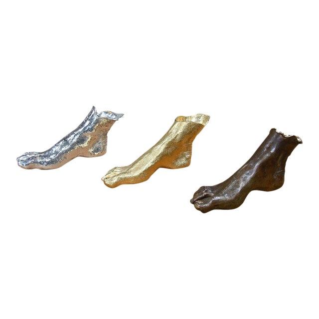 """Foot Sculptures in Bronze, """"Bronzo Dorato"""" For Sale"""