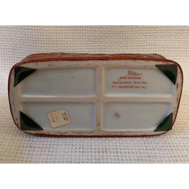 1960s Vintage Asian Porcelain Headrest Trinket Box For Sale - Image 5 of 6