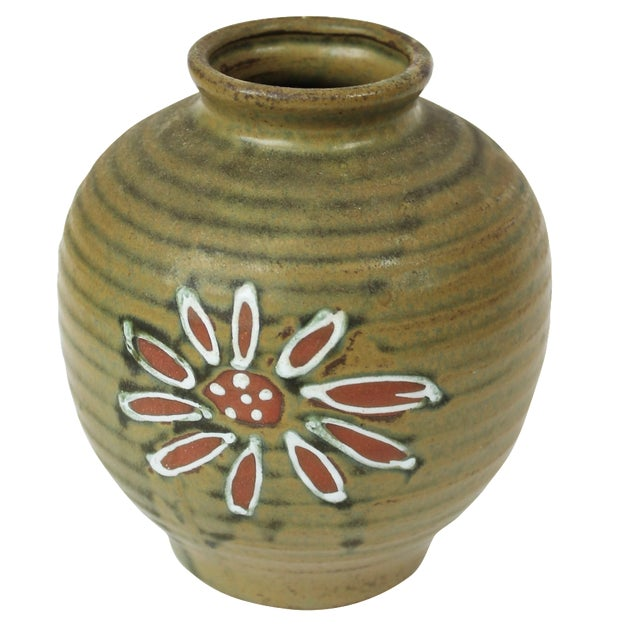 1960s Japanese Green Floral Vase - Image 1 of 4