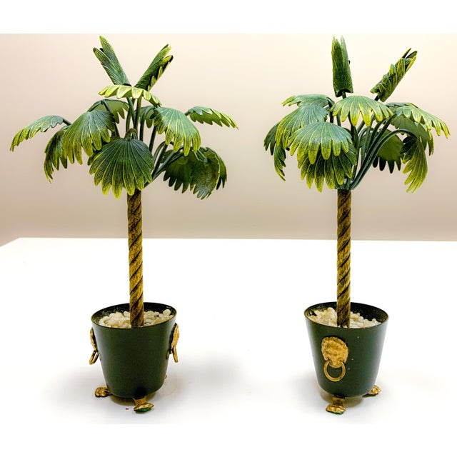 Hollywood Regency Pair of Hollywood Regency Petite Choses Cold Painted Bronze Palm Trees For Sale - Image 3 of 9