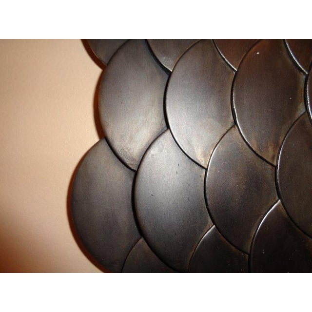 1970s Palatial Modernist Steel Fish Scale Convex Wall or Console Mirror For Sale - Image 5 of 10