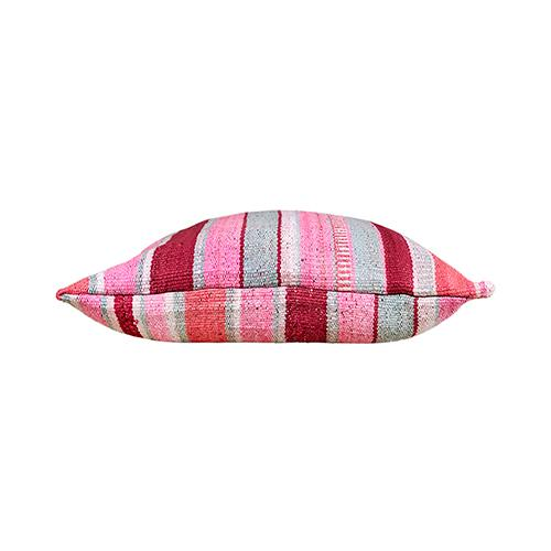"""By Kim Salmela a 25"""" x 25"""". Multi-pink and mint striped Peruvian Kilim pillow, double-faced, zipper at bottom, 90/10..."""