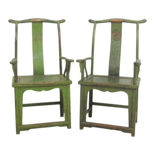 """19th Century Huanghuali 'Offical's Hat"""" Yokeback Armchairs Guanmoyi Style a Pair For Sale"""