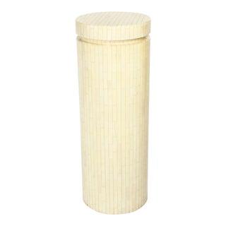 Enrique Garces Tall Cylindrical Column Bone Veneer Display Pedestal For Sale