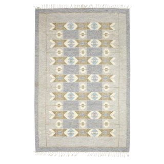 Ingegerd Silow Swedish Rollakan Kelim Rug - 6′6″ × 9′6″ For Sale
