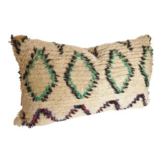 Custom Pillow Cut from a Vintage Hand-Loomed Wool Beni Ouarain Moroccan Rug For Sale