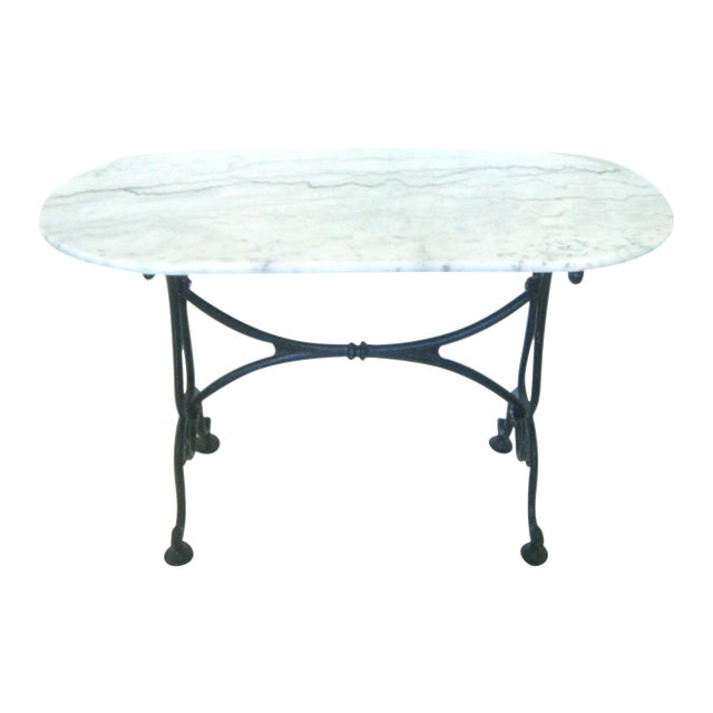 White Italian Marble Console/Bistro/Dining Table - Image 1 of 8