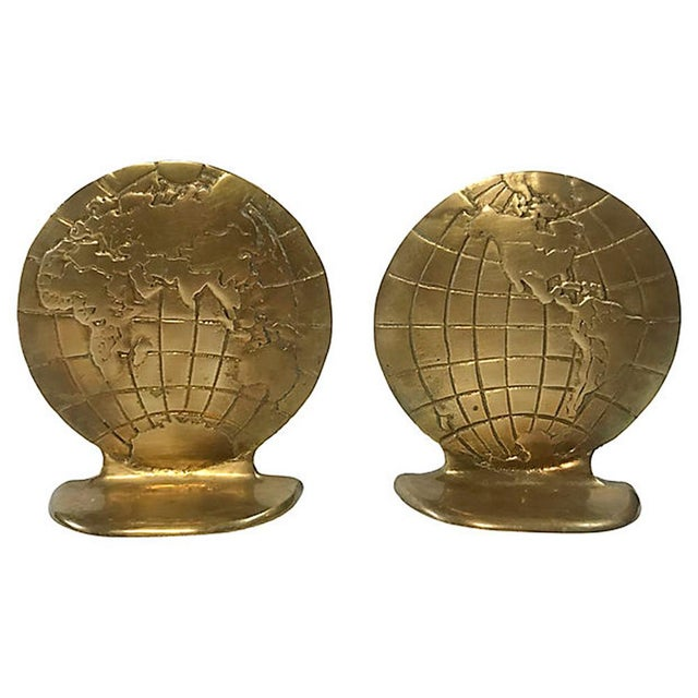 Brass Globe Bookends For Sale - Image 4 of 4