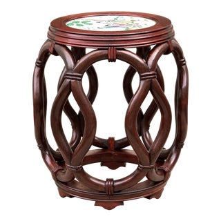 Asian Bentwood Porcelain Top Drum Stool For Sale