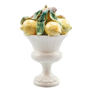 Vintage Italian Majolica Lemon Compote Arrangement For Sale