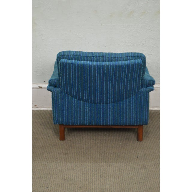 Danish Modern Mid Century Teak Frame Blue Upholstered Lounge Chair For Sale - Image 4 of 10