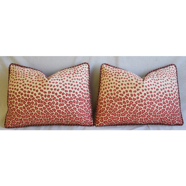 """Colefax & Fowler Leopard Print & Chenille Feather/Down Pillows 22"""" X 16"""" - Pair - Image 6 of 13"""