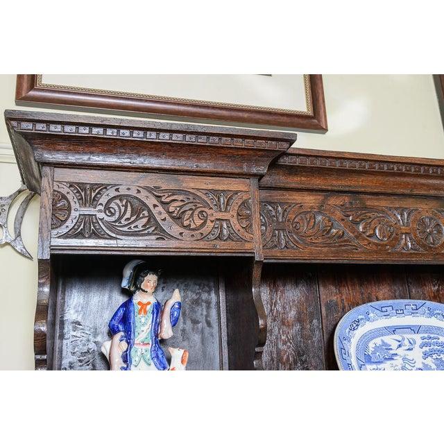 English Carved oak dresser For Sale - Image 3 of 9