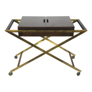 Brass X Base Bar or Serving Cart by Widdicomb, 1960's