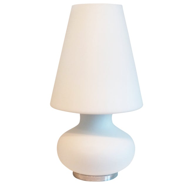 "Mid-Century 22"" Tall Frosted Glass Lamp - Image 1 of 10"