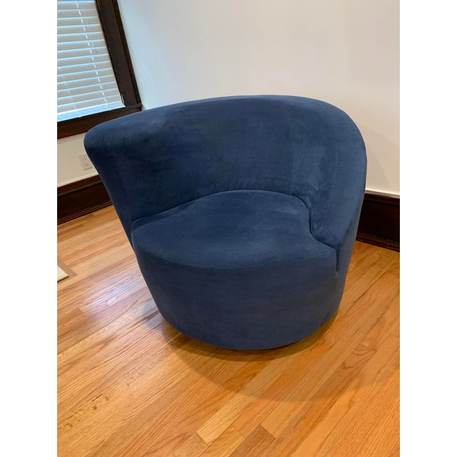 Pair of mint condition blue Vladimir Kagan for Directional Nautilus Ultrasuede Swivel Chairs, custom made. Purchased from...
