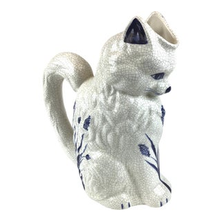 Vintage Large Cat Blue White Crackle Pottery Pitcher For Sale