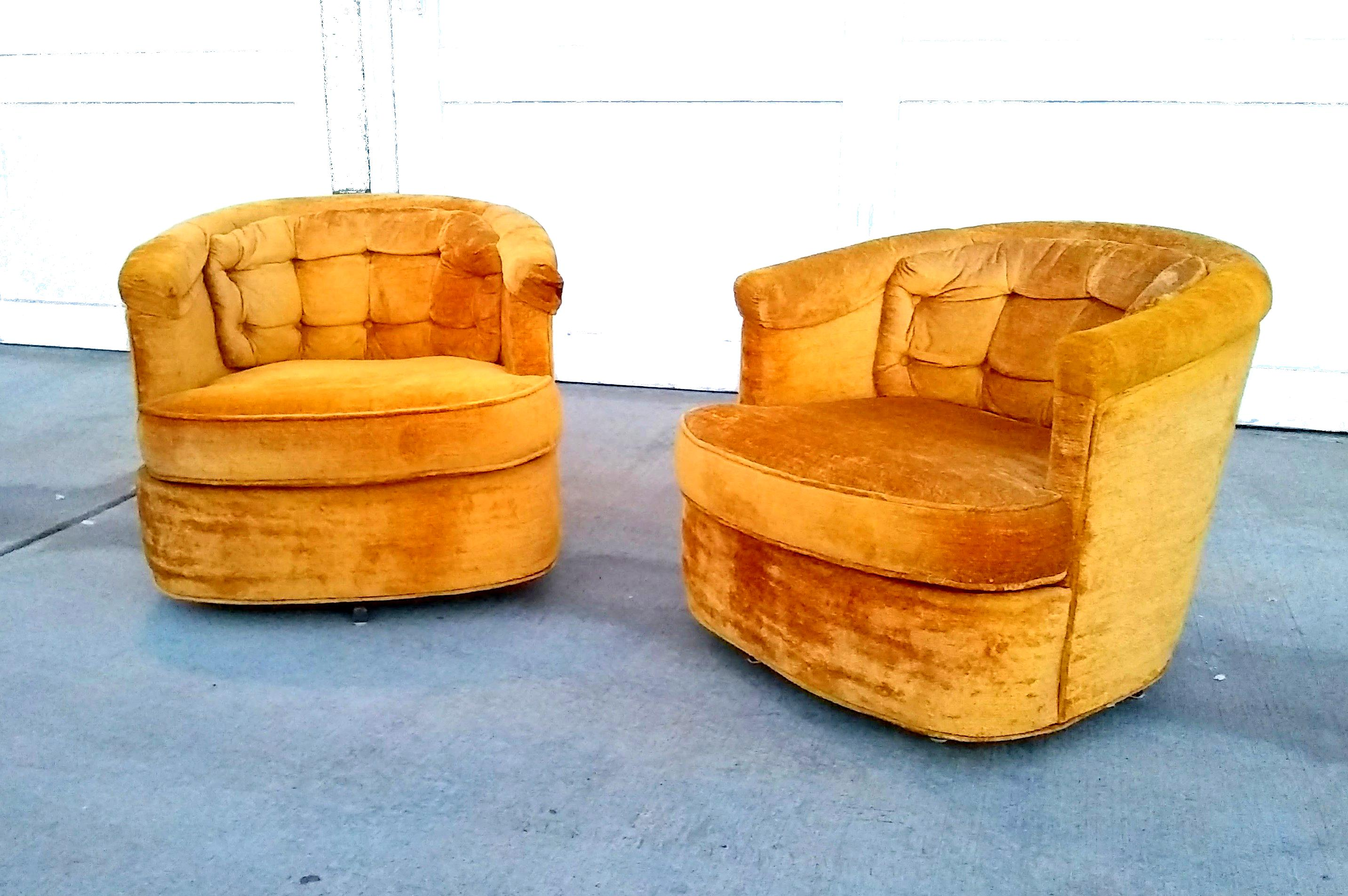 Mid Century Goldenrod Swivel Tub Chairs  Pair For Sale   Image 11 Of 11