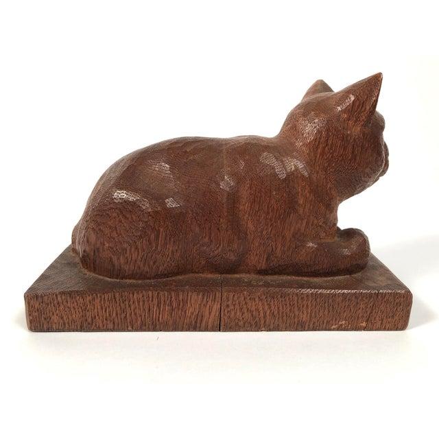 Folk Art Hand Carved Wood Cat Sculpture For Sale - Image 9 of 12