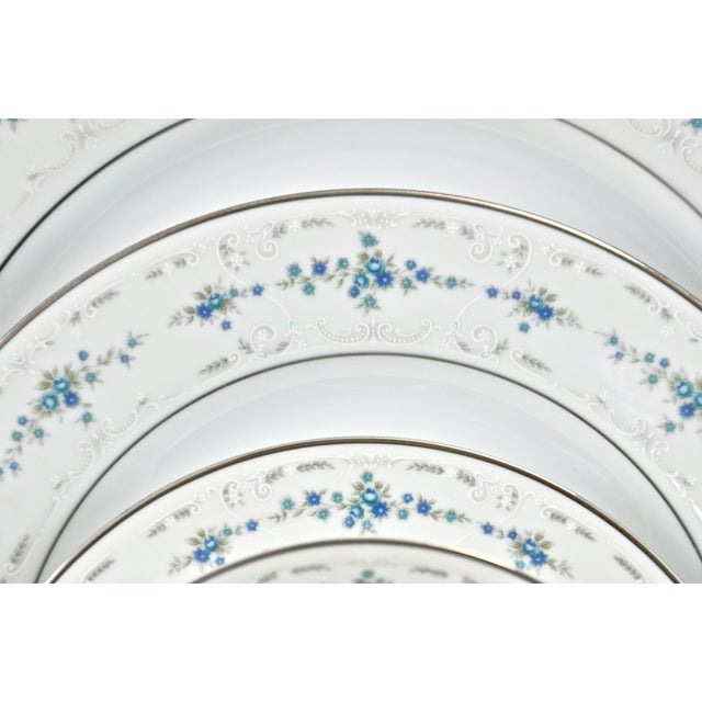 Cottage Noritake Silver & Blue Floral Dinner Service- 77 PIeces For Sale - Image 3 of 8
