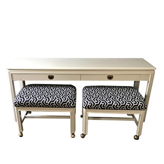 1970s Mid-Century Modern Drexel Heritage Console With Ink Blue Benches - 3 Piece Set