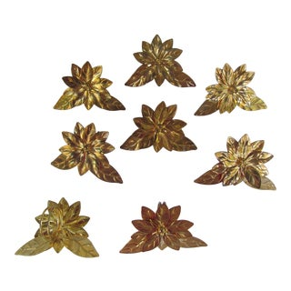 Brass Poinsettia Napkin Rings - Set of 8 For Sale